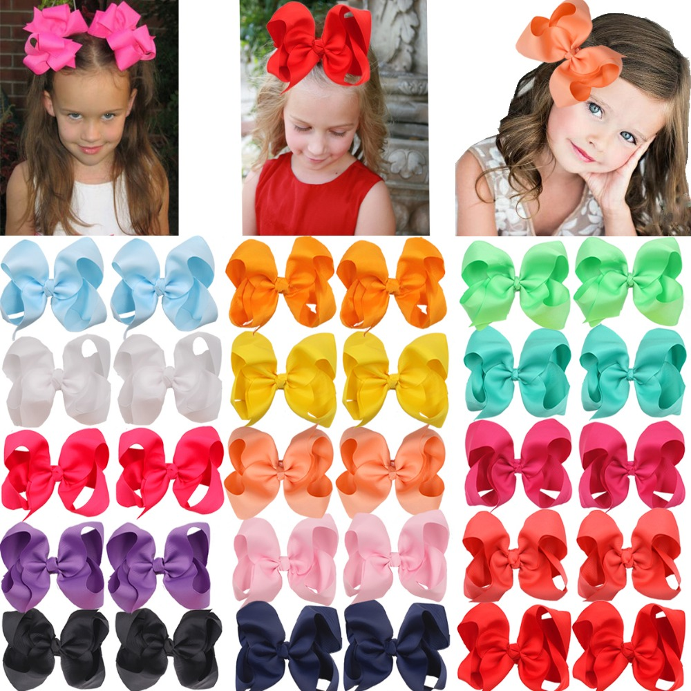 30 Pcs 6 Inch Bows For Girls Big Grosgrain Girls 15pairs 6