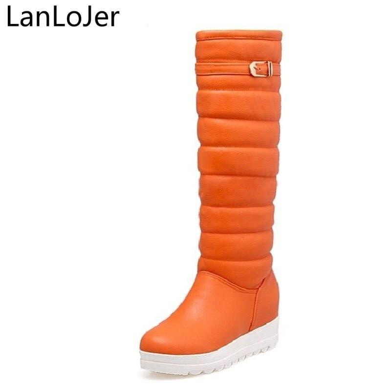 LanLoJer Knee-high Waterproof Pu Leather Women Snow Boots Long Winter Buckle Design Fur Warm Flat Platform Boots Non-slip Shoes