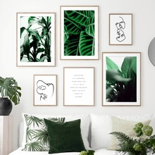 Green Plant Leaf Abstract Body Art Line Wall Art Canvas Painting Nordic Posters And Prints Wall Pictures For Living Room Decor abstract girl line drawing plant leaf wall art canvas painting nordic posters and prints wall pictures for living room decor