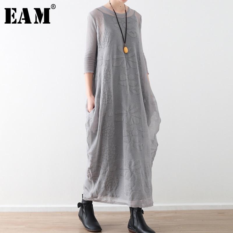 [EAM] 2019 nouveau printemps été col rond trois quarts manches gris lâche tempérament deux pièces robe femmes mode marée JT896