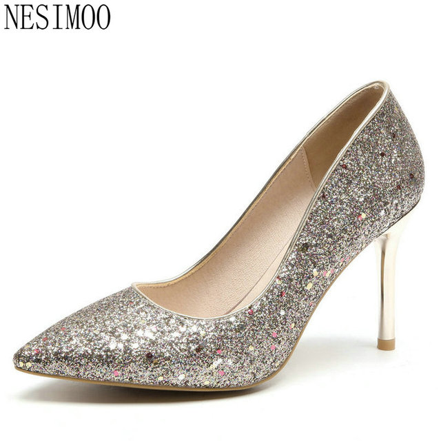 NESIMOO 2018 Women Pumps Slip on Thin High Heel Pu Leather Bling Fashion  Allmatch Fashion Pointed Toe Ladies Pumps Size 34-43 71583b922d89