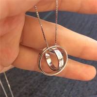 Double Silver Circle Necklaces gros collier femme sterling silver jewelry colares de best friends 2015 wish good luck necklaces