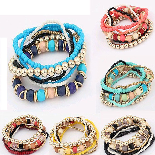 2016 Bohemian Summer Jewelry MutiLayer Beads Bracelets & Bangles for Women Elast