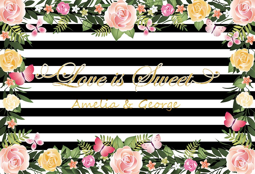 Flower Leaves Black And White Striped photography backgrounds Vinyl cloth High quality Computer print party photo backdrop