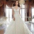 Vivian Bridal Apliques de Encaje vestidos de novia 2016 Blanco Vestidos de Novia Corte Tren vestidos de noiva WD111 vestido novia encaje