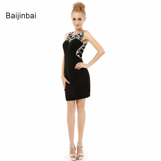 2018 New Style Short Black Graduation Dresses Scoop Collar Above ...