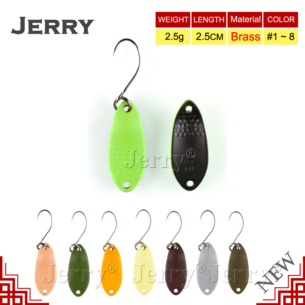 Jerry 2.5g stream casting trout spoon micro brass fishing spoons high quality fishing lures wobblers freshwater bait