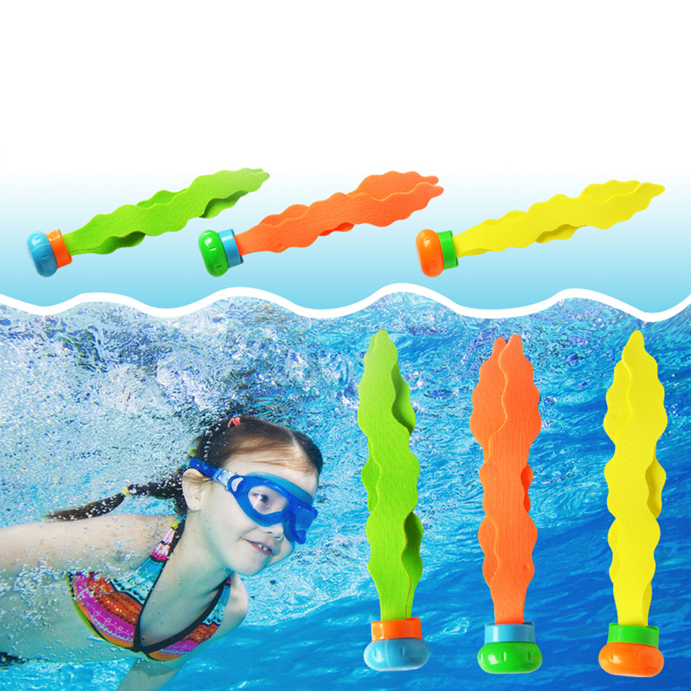 цена на Children Novelty 3Pcs Diving Underwater Swimming Colorful Pool Sink Training Diving Seaweed Toy Funny Gadgets for kids Hot Sale