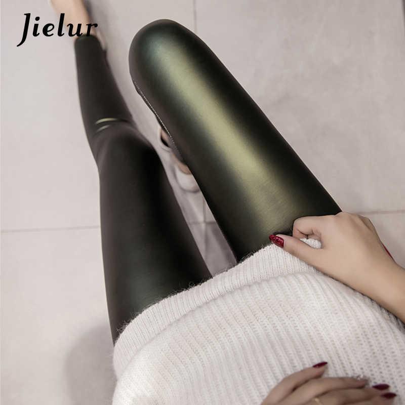 Jielur 2019 Outono PU Leggings De Couro Falso Mulheres 4 Cores Calças Skinny Feminino Coreano de Slim Senhoras Velo Lápis Leggins S-3XL