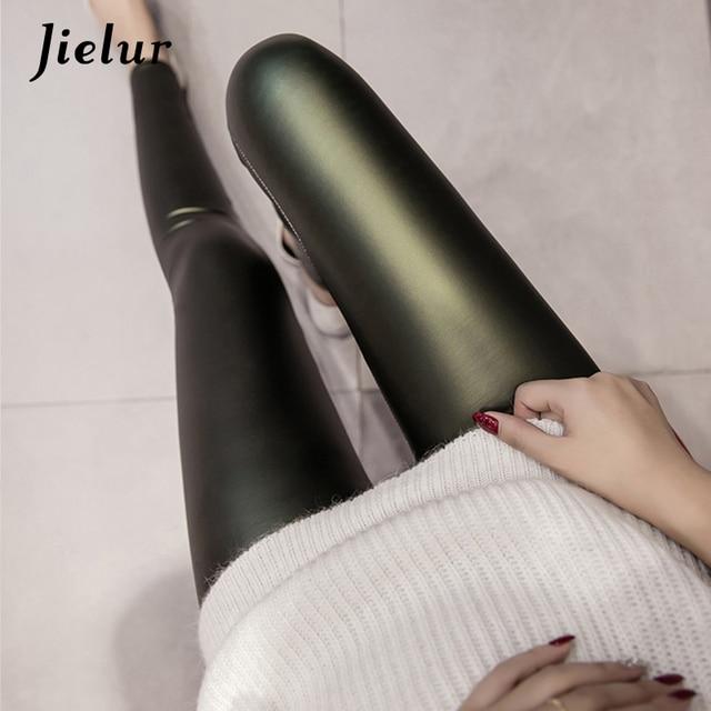 Jielur 2020 Autumn PU Faux Leather Leggings Women 4 Colors Skinny Pants Female Korean Slim Ladies Fleece Pencil Leggins S-3XL 3