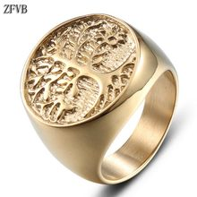 ZFVB Vintage Tree of Life Ring Men Women Gold color Christmas tree Rings 316L Stainless Steel Fashion Party Charm Jewelry Gift