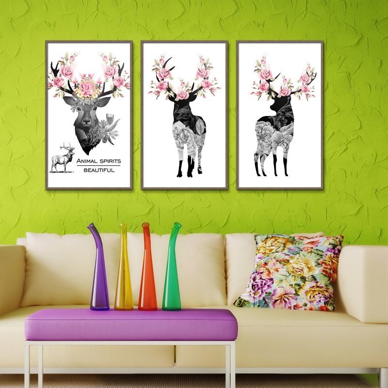 Frameless Canvas Art Oil Painting Flower Painting Design: Deer FLOWER Spray Oil Painting Frameless Print Unframed