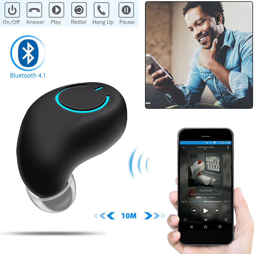 Mini Bluetooth Earphone V4.1 Business Earbuds Invisible Wireless Earphones With Mic 4H Playtime For iPhone Android Phone
