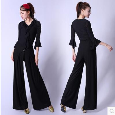 Nouveau automne New black pantalons à jambes larges pantalons femme européenne et américaine de la mode était mince morceau pantalons carrés de danse
