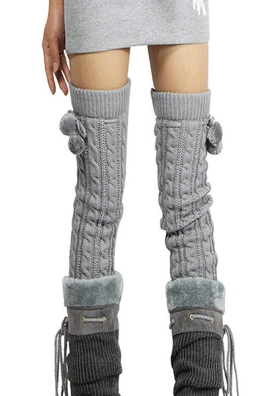 ᗐMujeres trenzado calcetines pie menos Calentadores para piernas ...