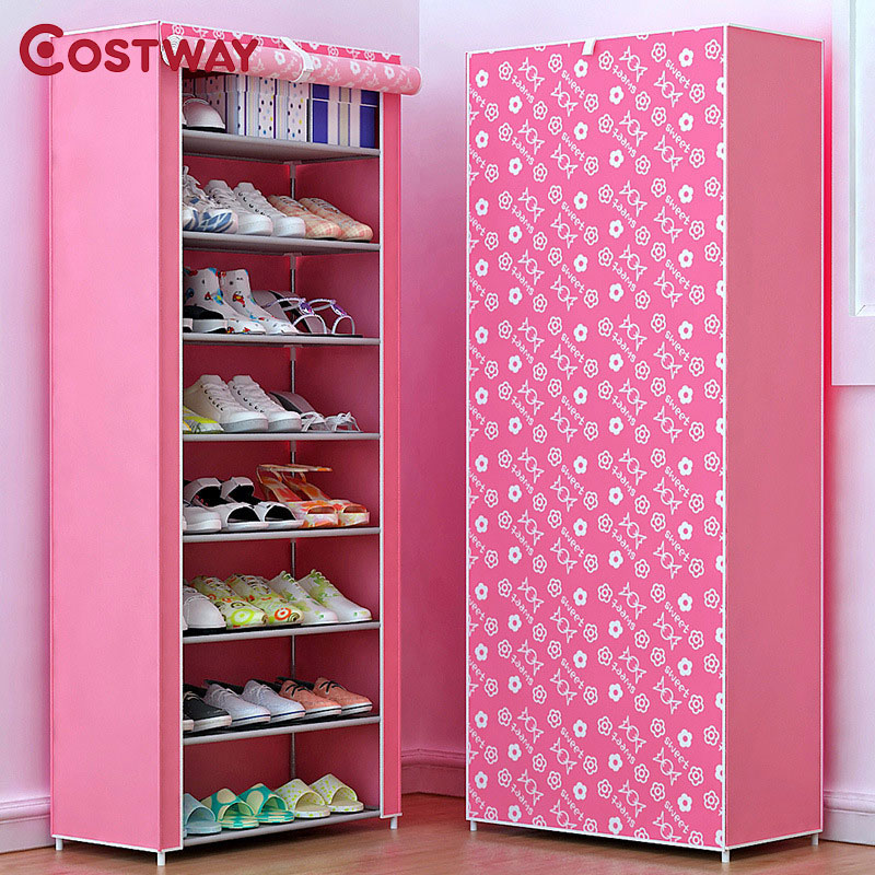 COSTWAY Non-woven Shoe Cabinets 8 Tier Shoes Rack Stand Shelf Shoes Organizer Living Room Bedroom Storage Furniture W0114 european style living room furniture television cabinets wine sets decorative display cabinets