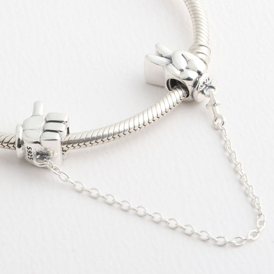 62db6ecc4 ... new zealand authentic 925 sterling silver mickey gestures safety chain  bead charm fit pandora bracelet bangle