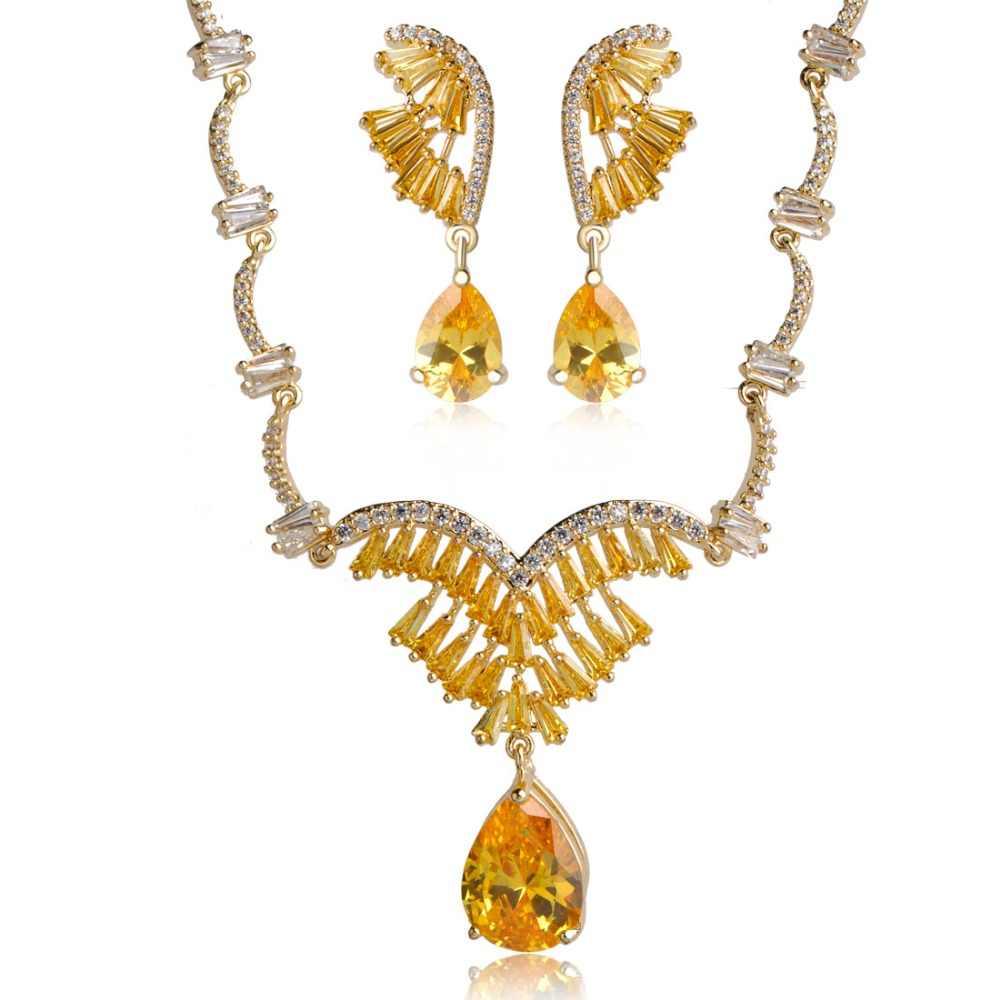 Блестящий желтый циркон комплект медных ювелирных украшений водослива подвеска в форме крыла серьги, ожерелья Медь свадебные женские украшения комплект Joias