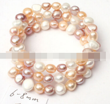 xd 00991 6-8mm white pink purple mixed-color freshwater natural pearl linking bracelet