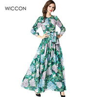 Brand Women long Dress hot sale 2019 Spring Autumn Russian Style Print Dresses Long Floor Length Elegant vestidos WICCON