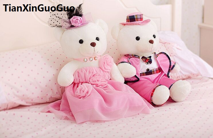 large 60cm pink wedding dresses&suits teddy bears plush toy love couples bears soft doll proposal,wedding gift w2990 stuffed animal 120 cm cute love rabbit plush toy pink or purple floral love rabbit soft doll gift w2226