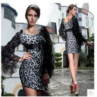 Europa en Amerika Slim pakket hip kleding lange mouwen zwarte luipaard kant jurk lotusblad nachtclub sexy dames minirok