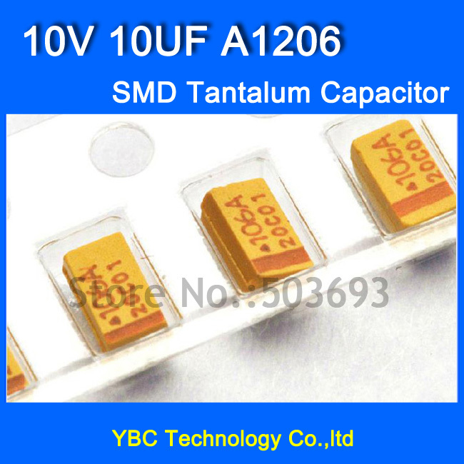 Free Shipping 200pcs/lot 1206 SMD Tantalum Capacitor <font><b>10V</b></font> <font><b>10UF</b></font> A1206 10% Tolerance image