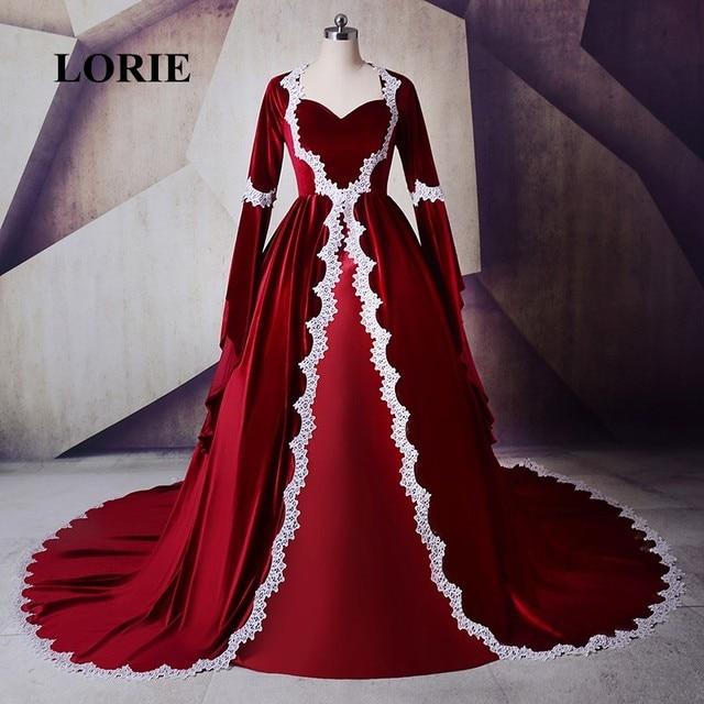 12e1a5e45532 Marocchino Caftano di Velluto Rosso Vestito Da Sera 2019 Dell innamorato  Appliques A Manica Lunga