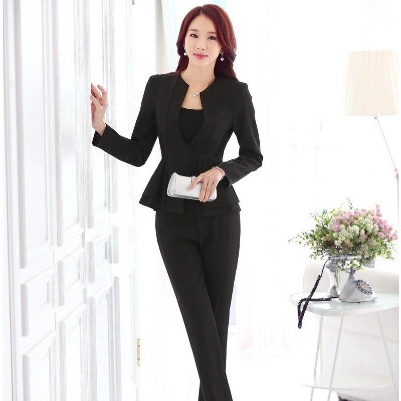 €31.09 30% de DESCUENTO|Trajes de pantalón para mujer Formal para mujer trajes de trabajo Blazer negro y chaquetas conjuntos estilos de uniformes de