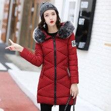 Зимние женские модные пуховики средней длины раздел женские большие хлопок-мягкий куртка Slim Мех воротник зима теплое пальто