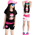2016 Summer Girls Clothing Sets Lips Pattern Lace Kids Set Girl Sport Suit T shirt+Shorts+Vest 3 Pieces Set Girls Clothes 5510Z