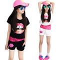 Conjuntos de Roupas de Verão 2016 Meninas Padrão Lábios Rendas Crianças Definir menina Esporte Terno camiseta + Short + Colete 3 Peças Set Meninas Roupas 5510Z