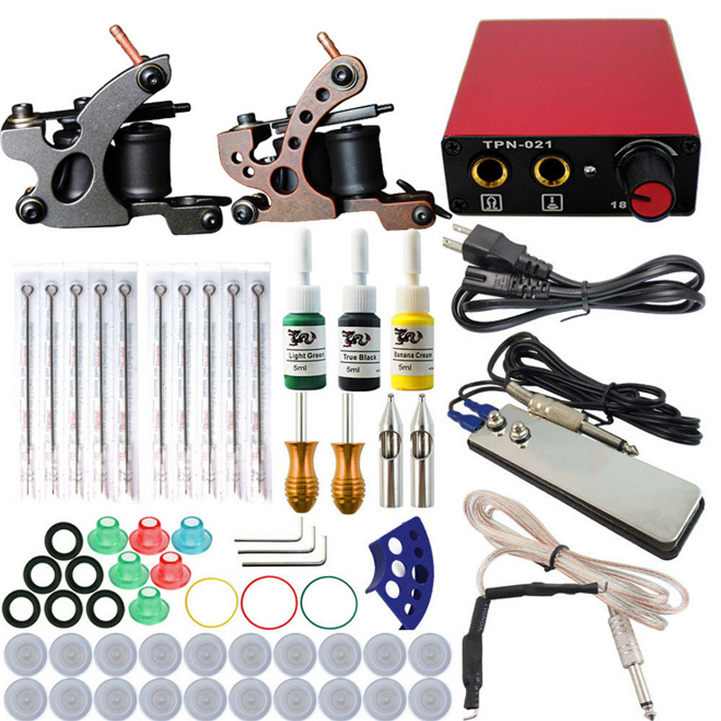 все цены на Professional Tattoo kits Complete Equipment rotary Tattoo Set 2  Machine Gun 3 Color Inks Power Supply Cord Kit Body Beauty