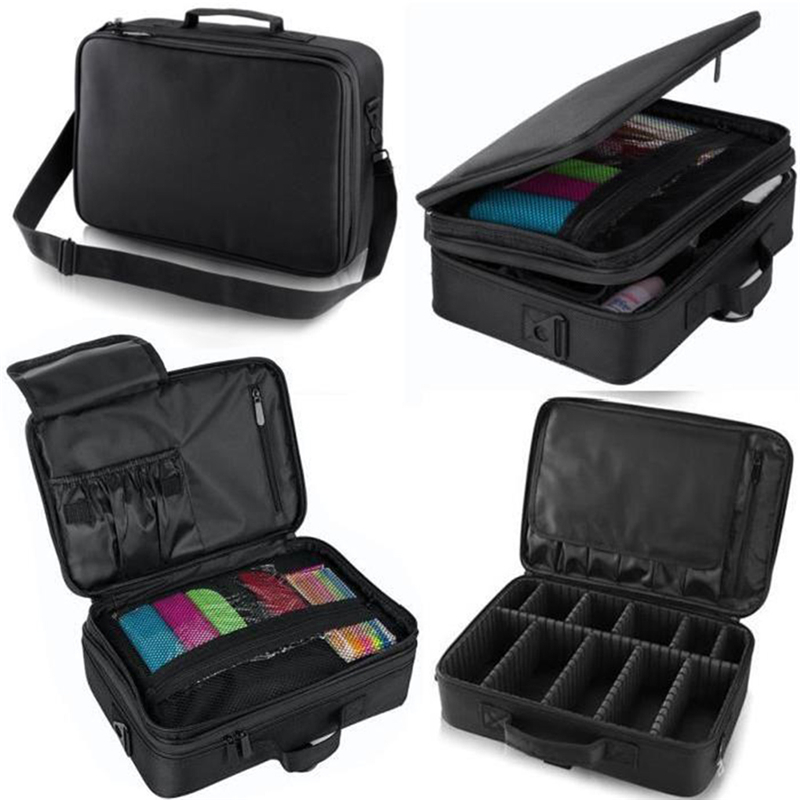 Large Capacity Oxford Fabric Cosmetic Bag 3 Compartment Makeup Storage Organizer Bag Travel Luggage Box Pouch convenient oxford fabric toiletry storage organizer bag for travel black