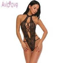 24cf0c99e08 Avidlove Women Bodystocking Lace Sexy Costumes One Piece Lingerie Bodysuit  Halter Sheer Women Teddy Nightwear Body · 4 Colors Available