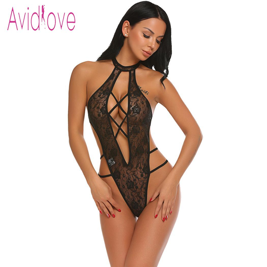 babe4dbcfcd Avidlove Women Bodystocking Lace Sexy Costumes One Piece Lingerie Bodysuit  Halter Sheer Women Teddy Nightwear Body Lingerie