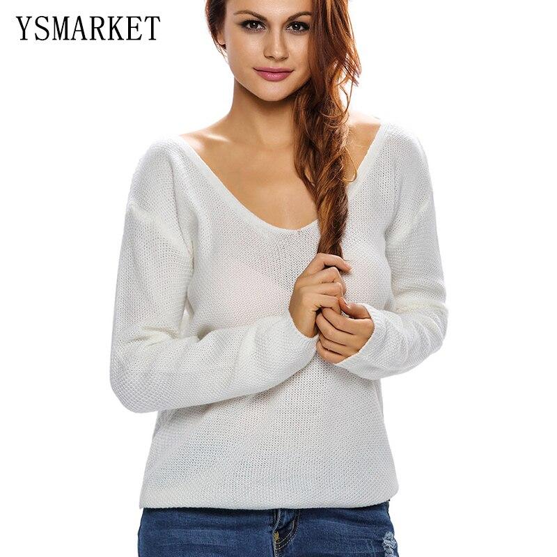 Camisa Femenina con cuello en v 6 Jersey de Color Sólido Suéter Flojo Ocasional