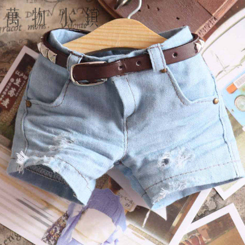 New Blue Hole Fashion Jeans Shorts For BJD Uncle 1/3 1/4 1/6 MSD Size Luts Doll Clothes new handsome fashion stripe black gray coat pants uncle 1 3 1 4 boy sd10 girl bjd doll sd msd clothes