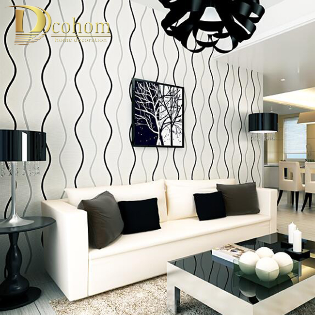 Simple Modern 3D Stereoscopic Wall Paper Bedroom Living Room Walls Silver  Black And White Striped Wallpaper