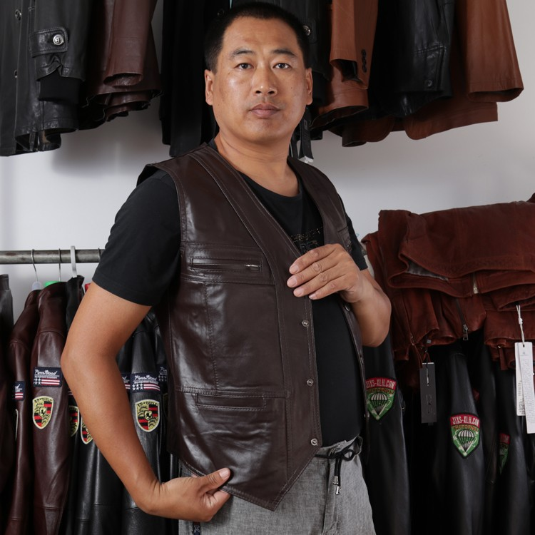 4245339a831de BONJEAN Men s Cow Genuine Leather Vest Reporter Vest Waistcoat Tank Top  Jacket Motorcycle Vest -in Vests   Waistcoats from Men s Clothing on  Aliexpress.com ...