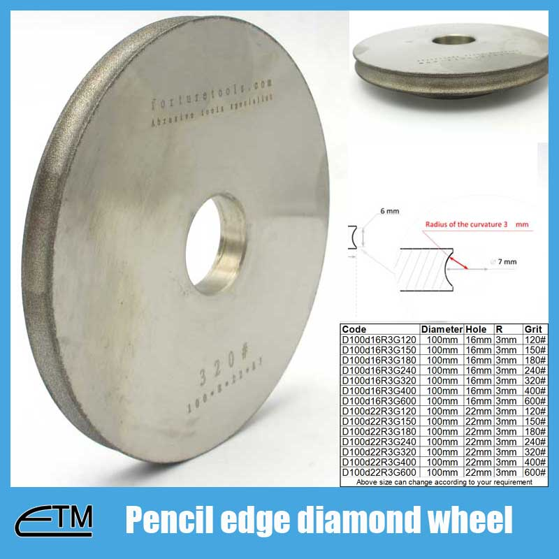 4 inch Diamond pencil edge grinding wheel 16mm hole or 22mm hole for option grit 120 to 600 цена