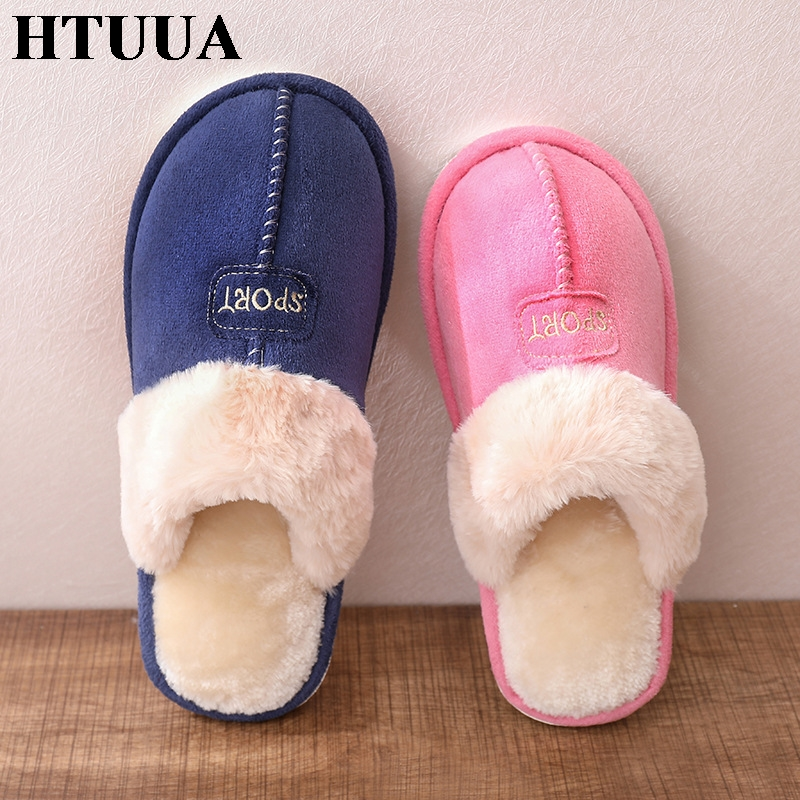 HTUUA Indoor Slippers Shoes Couples Plush Flat Winter Women Warm 36-45 SX1816 Faux-Suede