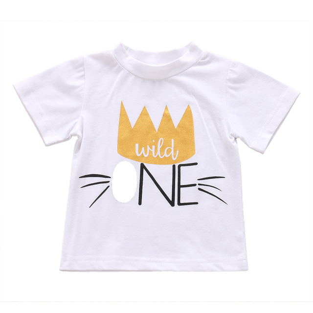 1ST Birthday Newborn Kids Baby Boys Girls Summer Clothes T Shirt Tops Blouse Cotton Lovely