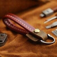Genuine Leather Car Keychain Creative Design Cowhide Key Rope For Car Key Fastener High Quality