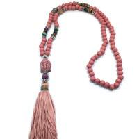 Nuevo Hecho A Mano de la vendimia de madera gotea el collar largo borla collar Budismo Tibetano Buda colgante collar étnico