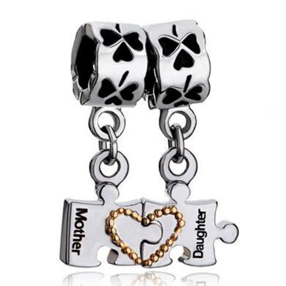 Slide Charm Wholesale Free Shipping Mother Daughter Charm Bracelet Heart  Charm Bracelet Love Charm Clover Fit