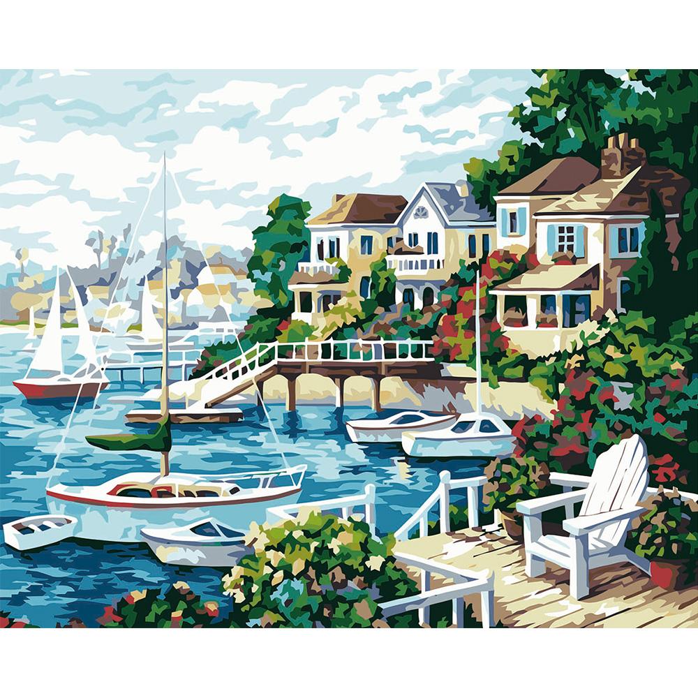 Diy malerei by zahlen kits unframed meer strand häuser landschaft leinwand kunst wandbild druckt mit