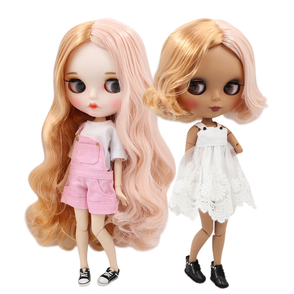 ICY factory blyth doll 1 6 bjd doll joint body golden and pink hair new matte