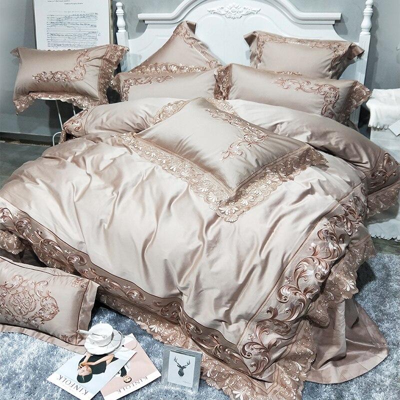 Ouro rosa 100 s de algodão Egípcio de luxo cama king size conjunto rainha capa de edredão real Bordado lençóis roupa de cama de linho conjunto