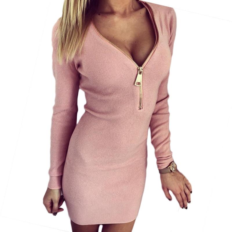 2018 venta rápida mujeres mini Vestidos explosión cadera ajustada tornillo  V cuello cremallera abierto pecho caliente manga larga casual vestido 7221 eb473864f6e8